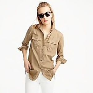 J. Crew Fatigue Button front shirt army tan olive